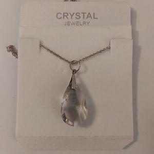 Smokey Crystal Teardrop  Necklace 925 SS